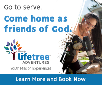 "Girl is drilling into a piece of wood. The text reads ""Go to serve. Come home as friends of God. Lifetree Adventures Youth Mission Experiences. Learn more and book now."""