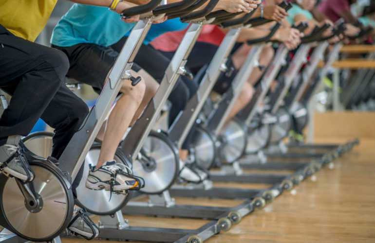 spinning class exercise bicycling